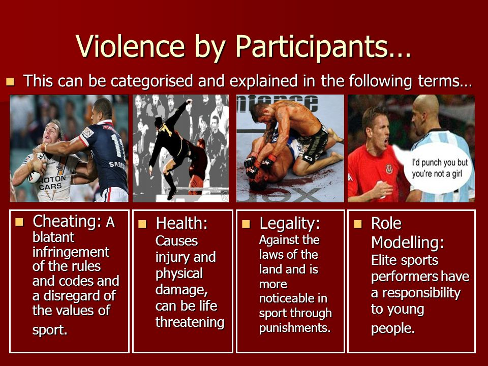 Violence by Participants… Cheating: A blatant infringement of the rules and codes and a disregard of the values of sport.