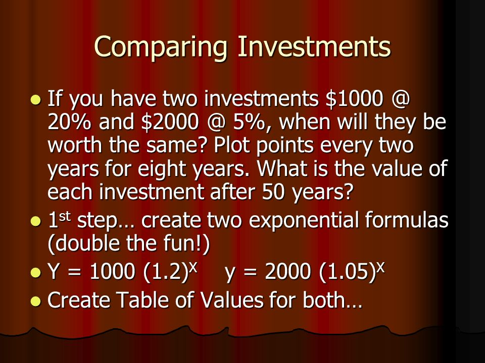 Comparing Investments If you have two investments $1000 @ 20% and $2000 @ 5%, when will they be worth the same.