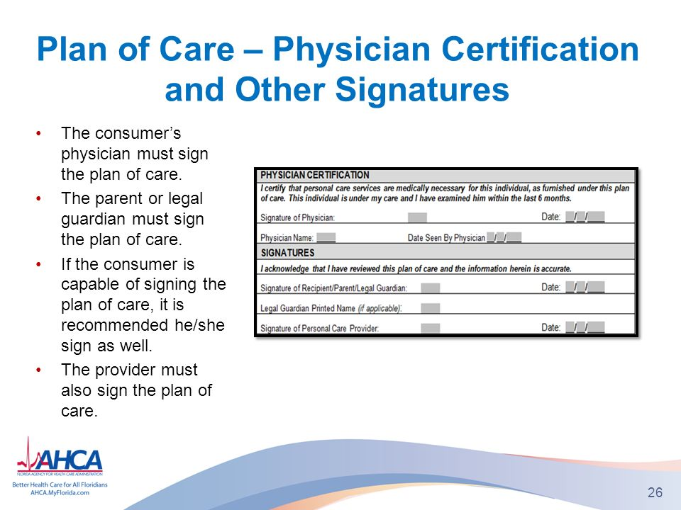 Plan of Care – Physician Certification and Other Signatures The consumers physician must sign the plan of care.