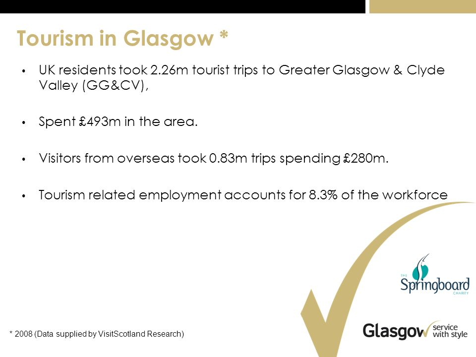 Tourism in Glasgow * UK residents took 2.26m tourist trips to Greater Glasgow & Clyde Valley (GG&CV), Spent £493m in the area.