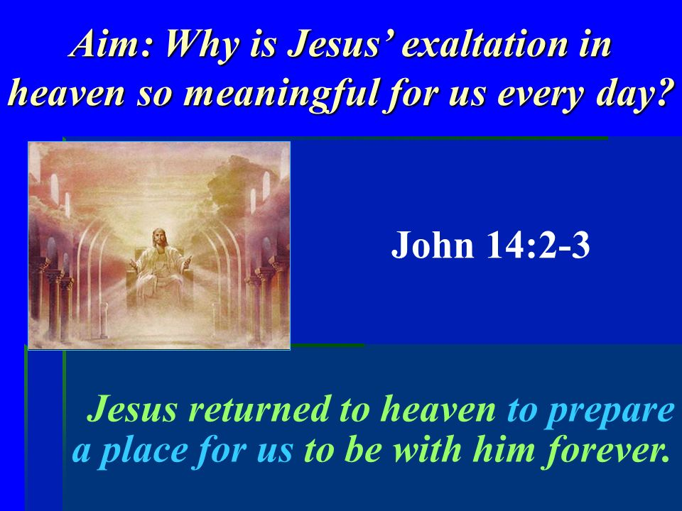 Aim: Why is Jesus exaltation in heaven so meaningful for us every day.