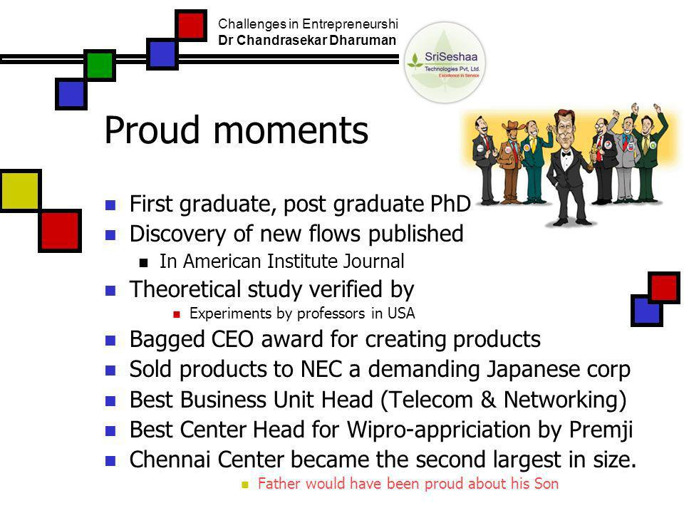 Proud moments First graduate, post graduate PhD Discovery of new flows published In American Institute Journal Theoretical study verified by Experiments by professors in USA Bagged CEO award for creating products Sold products to NEC a demanding Japanese corp Best Business Unit Head (Telecom & Networking) Best Center Head for Wipro-appriciation by Premji Chennai Center became the second largest in size.