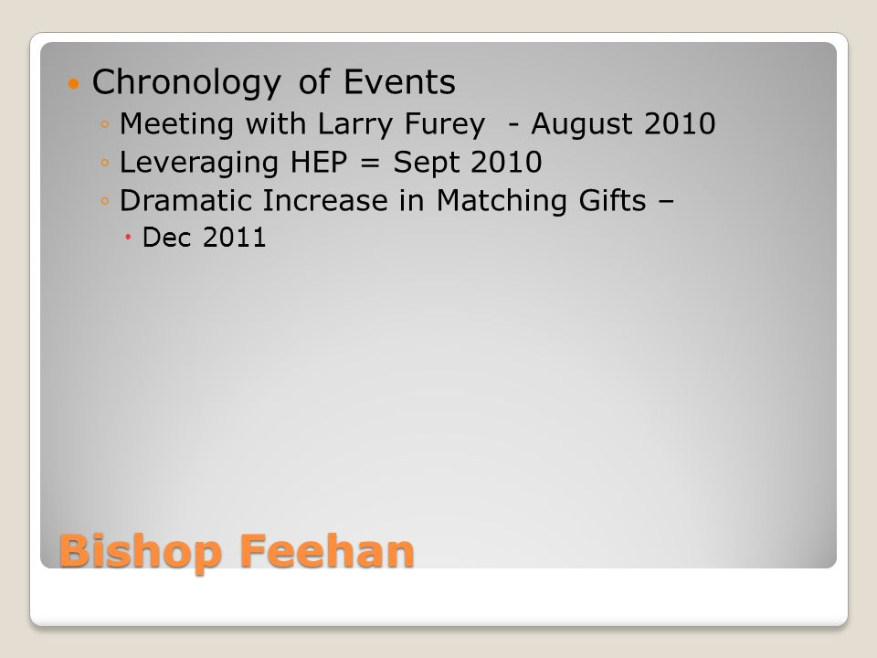Bishop Feehan Chronology of Events Meeting with Larry Furey - August 2010 Leveraging HEP = Sept 2010 Dramatic Increase in Matching Gifts – Dec 2011