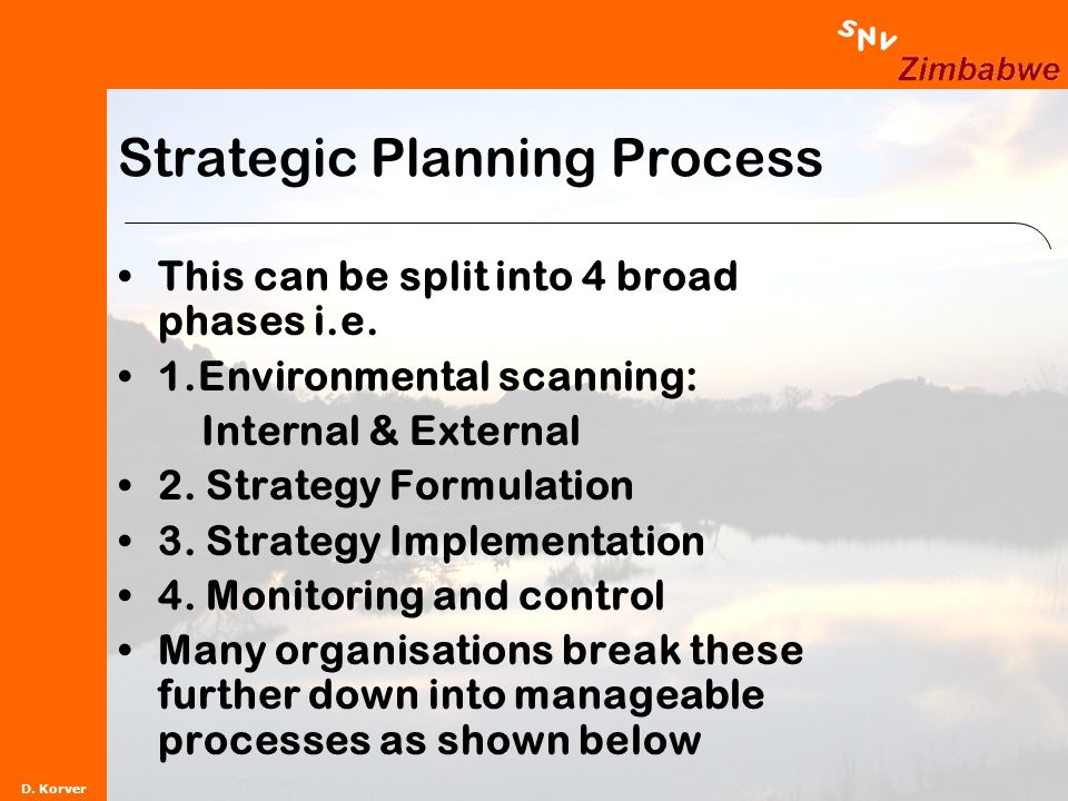 D. Korver Strategic Planning Process This can be split into 4 broad phases i.e.