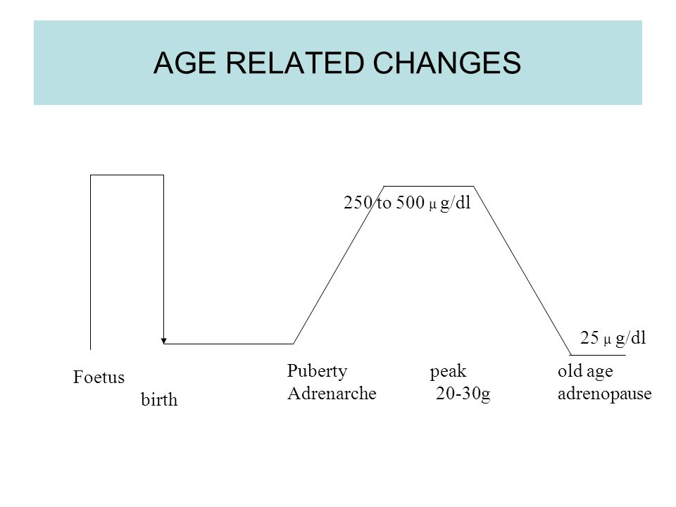 AGE RELATED CHANGES Foetus birth Puberty peak old age Adrenarche 20-30gadrenopause 250 to 500 μ g/dl 25 μ g/dl