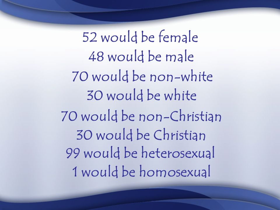 52 would be female 48 would be male 70 would be non-white 30 would be white 70 would be non-Christian 30 would be Christian 99 would be heterosexual 1 would be homosexual