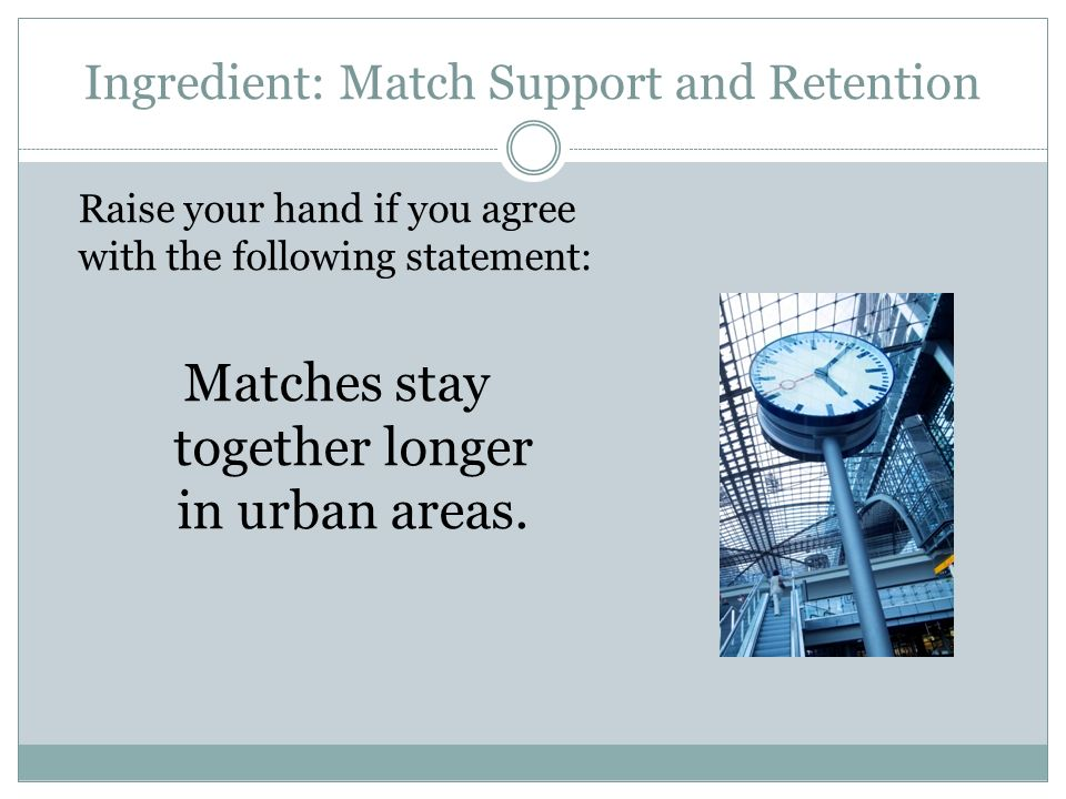 Ingredient: Match Support and Retention Raise your hand if you agree with the following statement: Matches stay together longer in urban areas.