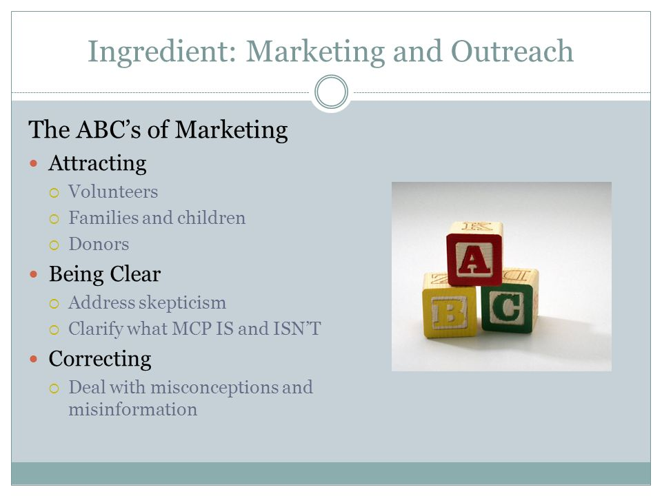Ingredient: Marketing and Outreach The ABCs of Marketing Attracting Volunteers Families and children Donors Being Clear Address skepticism Clarify what MCP IS and ISNT Correcting Deal with misconceptions and misinformation