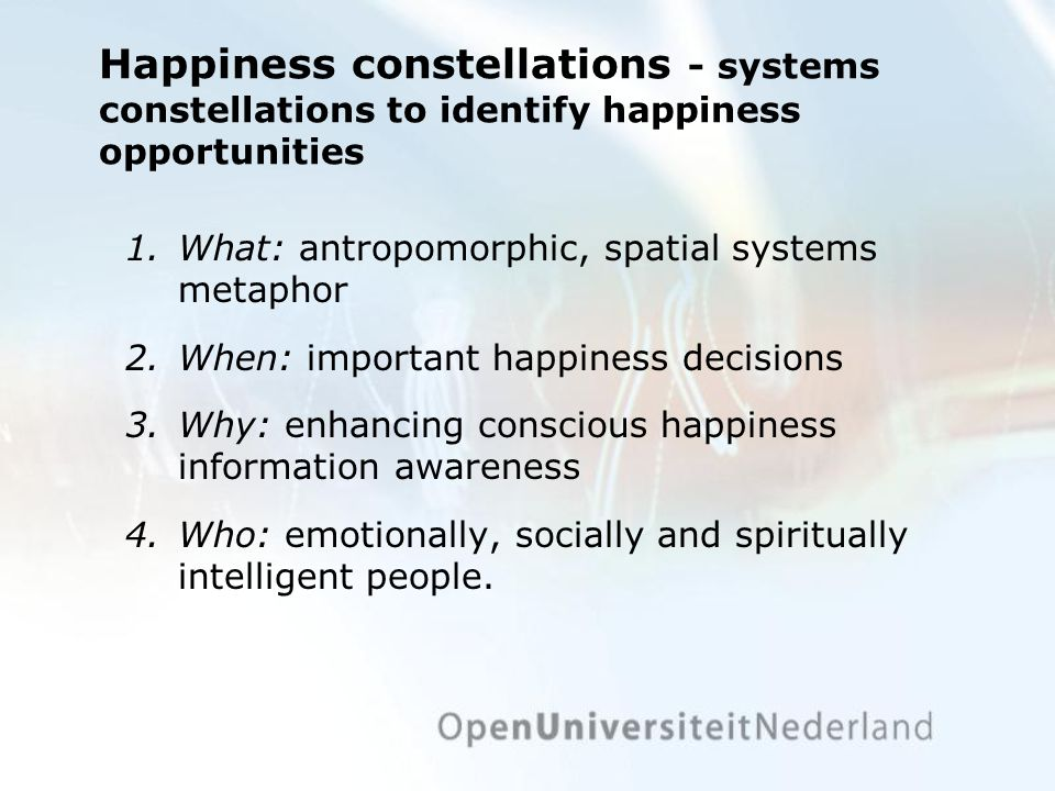 Happiness constellations - systems constellations to identify happiness opportunities 1.What: antropomorphic, spatial systems metaphor 2.When: important happiness decisions 3.Why: enhancing conscious happiness information awareness 4.Who: emotionally, socially and spiritually intelligent people.