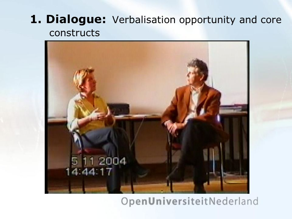 1. Dialogue: Verbalisation opportunity and core constructs