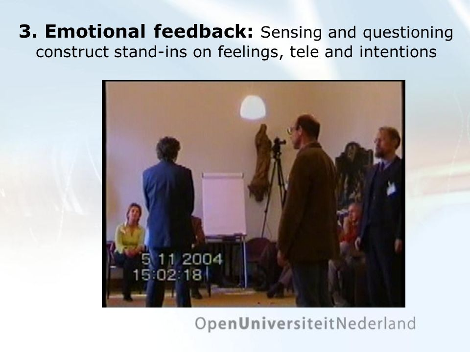 3. Emotional feedback: Sensing and questioning construct stand-ins on feelings, tele and intentions