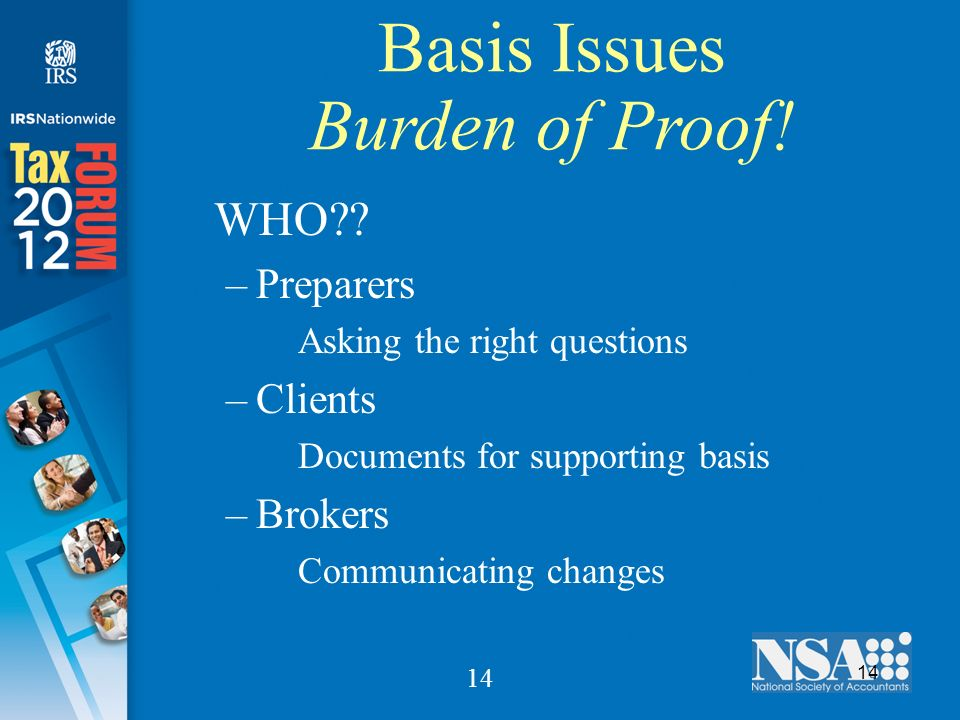 14 Basis Issues Burden of Proof. WHO .