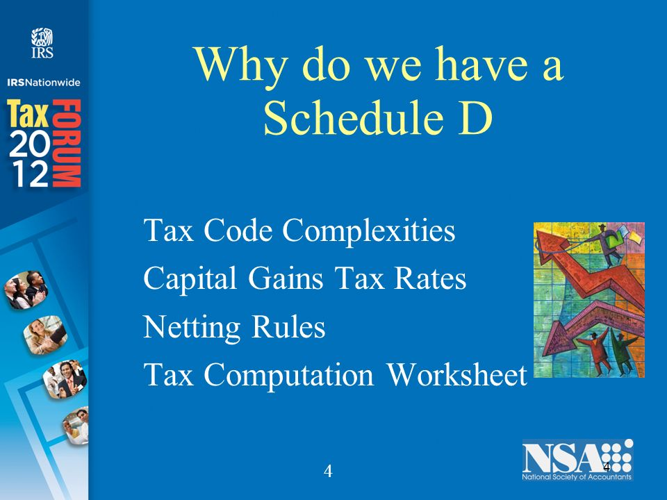 4 4 Why do we have a Schedule D Tax Code Complexities Capital Gains Tax Rates Netting Rules Tax Computation Worksheet