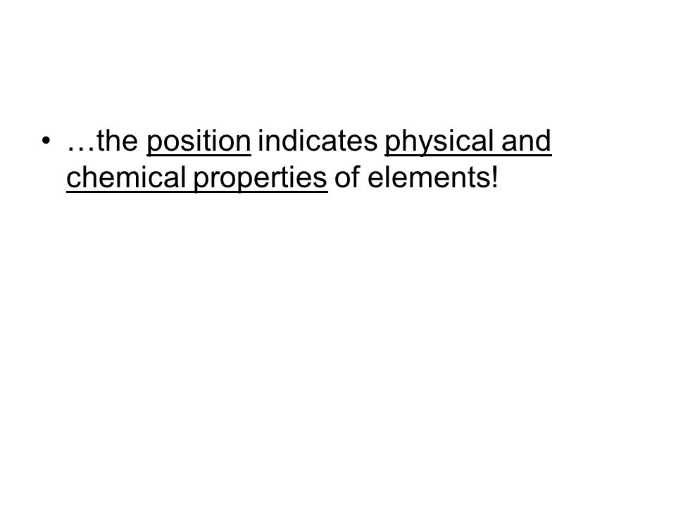 …the position indicates physical and chemical properties of elements!