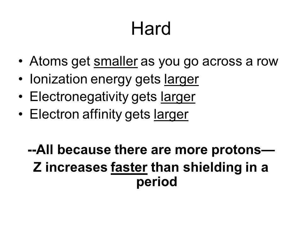 Hard Atoms get smaller as you go across a row Ionization energy gets larger Electronegativity gets larger Electron affinity gets larger --All because there are more protons Z increases faster than shielding in a period