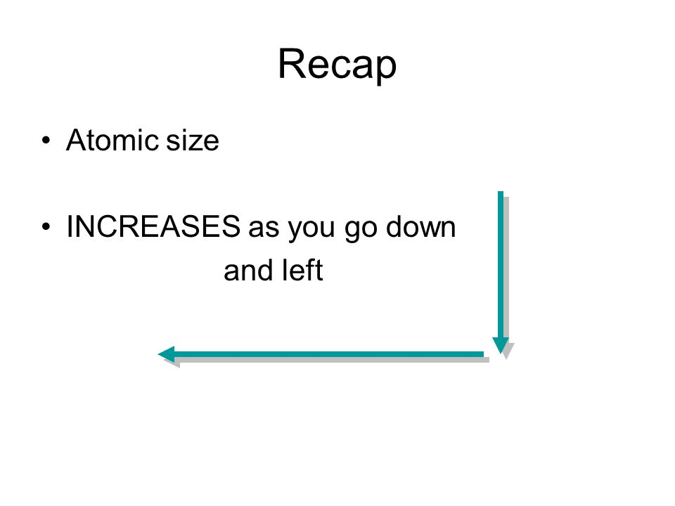 Recap Atomic size INCREASES as you go down and left