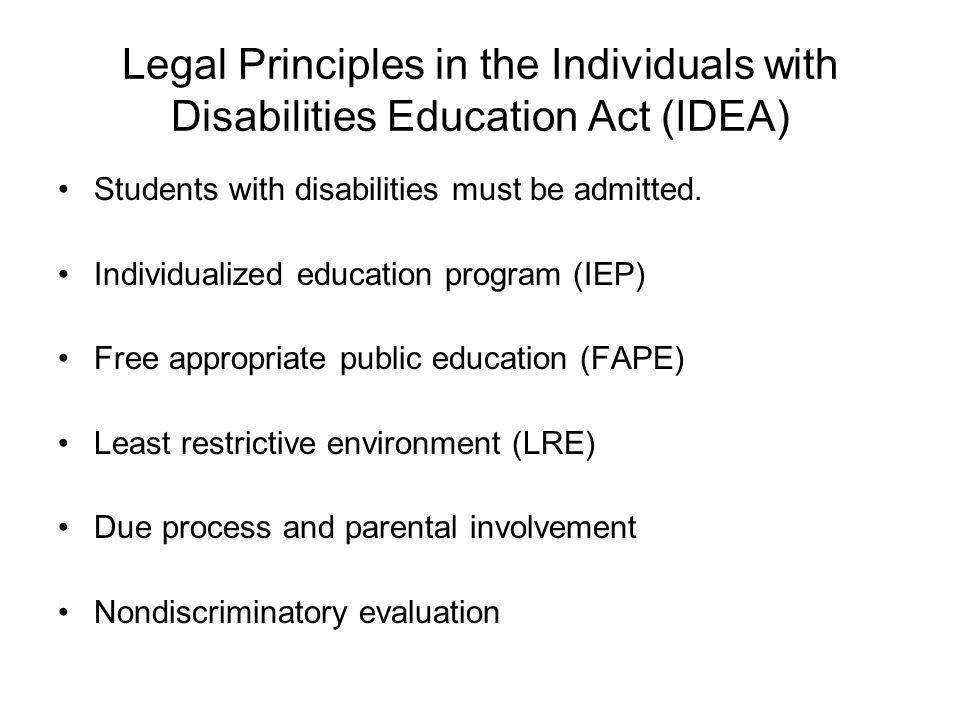 Legal Principles in the Individuals with Disabilities Education Act (IDEA) Students with disabilities must be admitted.