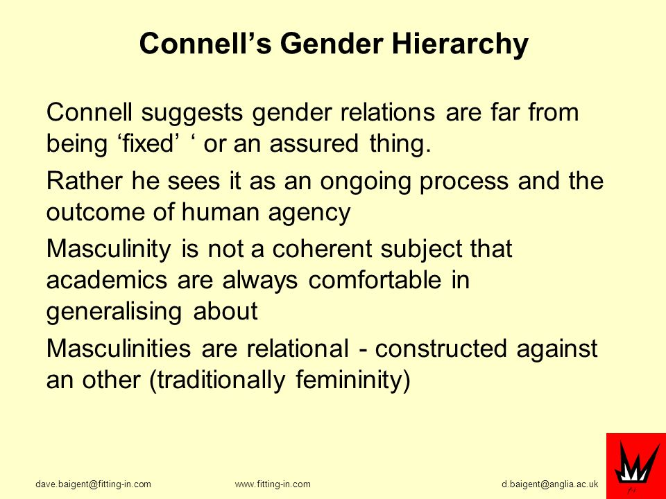 Connells Gender Hierarchy Connell suggests gender relations are far from being fixed or an assured thing.