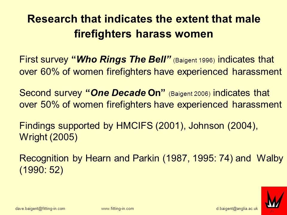 Research that indicates the extent that male firefighters harass women First survey Who Rings The Bell (Baigent 1996) indicates that over 60% of women firefighters have experienced harassment Second survey One Decade On (Baigent 2006) indicates that over 50% of women firefighters have experienced harassment Findings supported by HMCIFS (2001), Johnson (2004), Wright (2005) Recognition by Hearn and Parkin (1987, 1995: 74) and Walby (1990: 52)