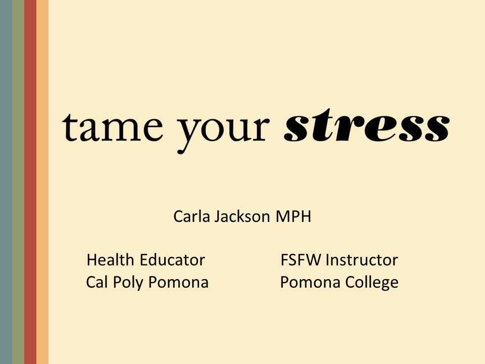 Carla Jackson MPH Health EducatorFSFW Instructor Cal Poly PomonaPomona College