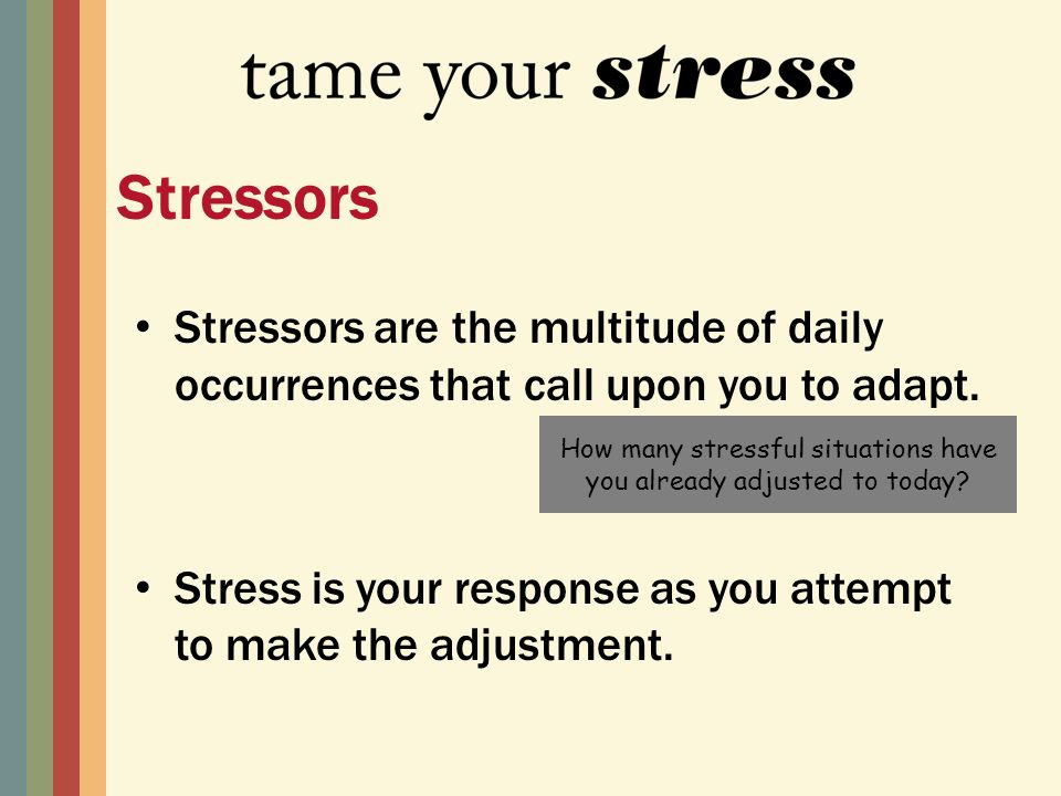 Stressors are the multitude of daily occurrences that call upon you to adapt.