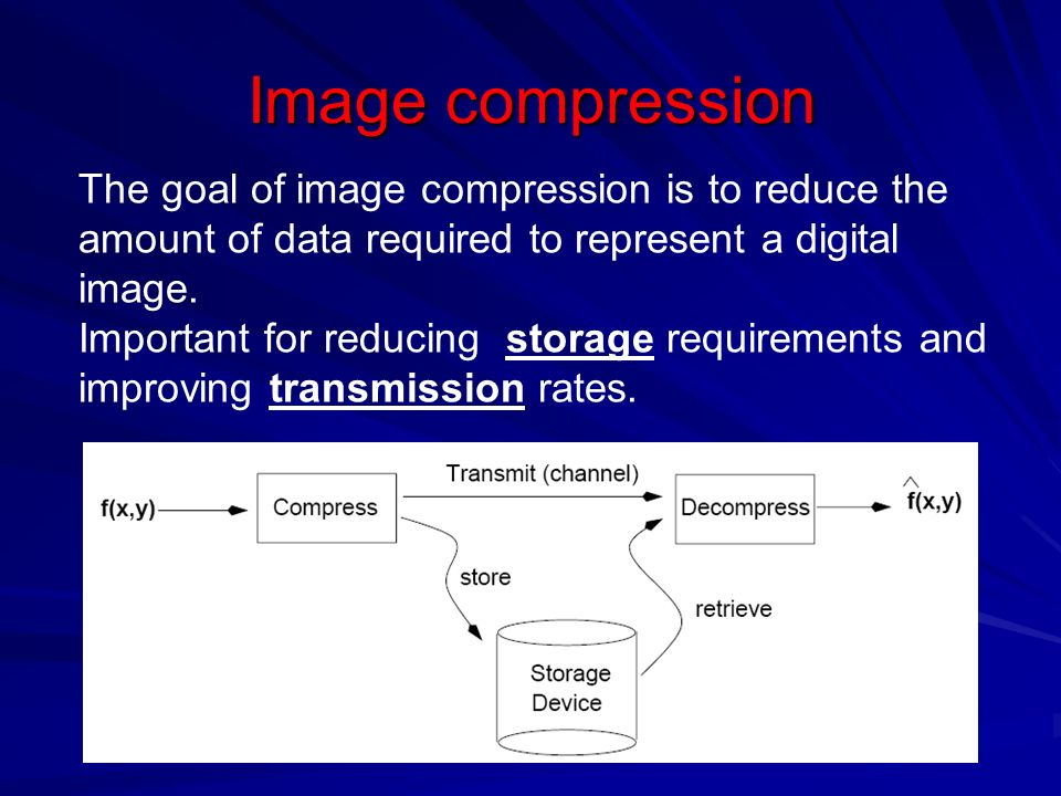 Image compression The goal of image compression is to reduce the amount of data required to represent a digital image.