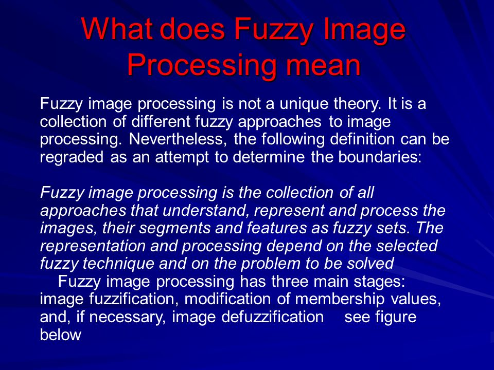 What does Fuzzy Image Processing mean Fuzzy image processing is not a unique theory.