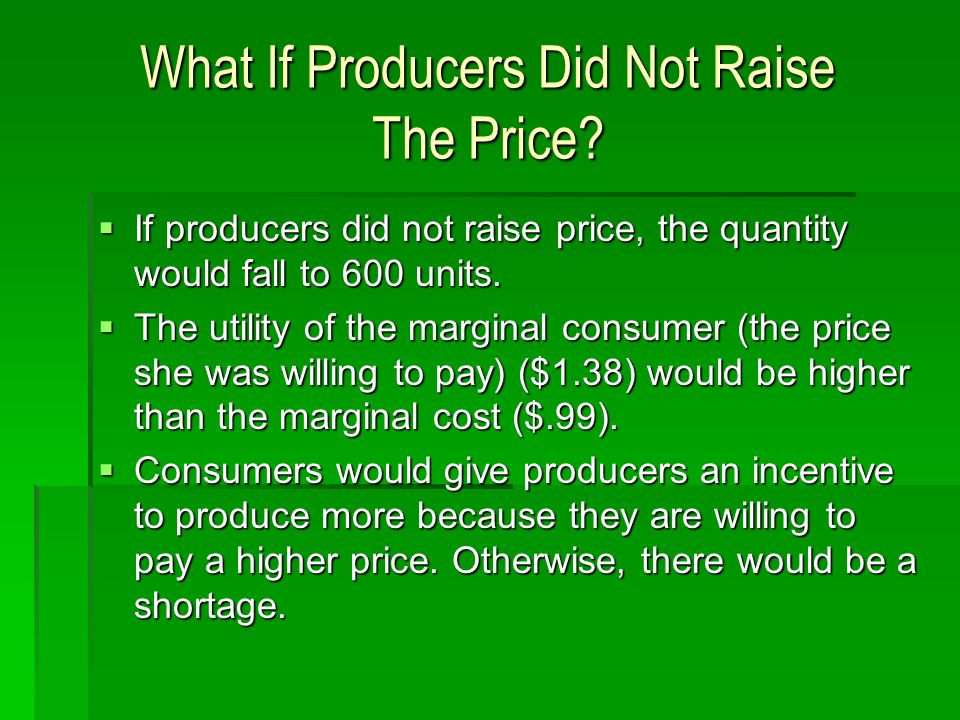What If Producers Did Not Raise The Price.
