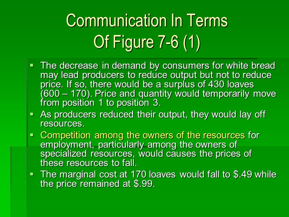 Communication In Terms Of Figure 7-6 (1) The decrease in demand by consumers for white bread may lead producers to reduce output but not to reduce price.
