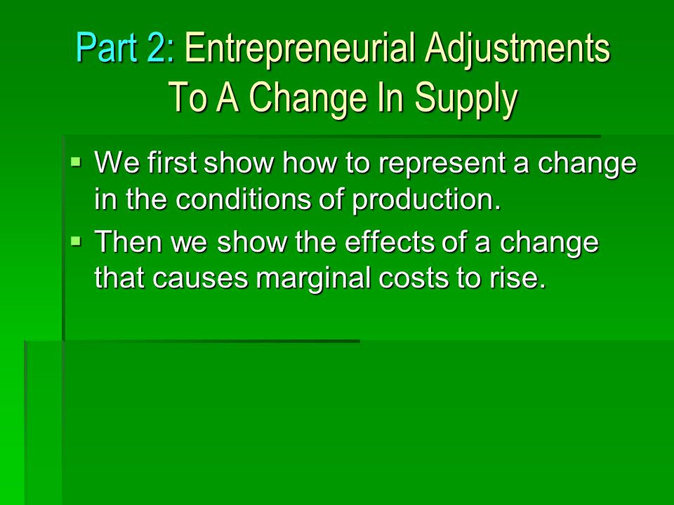 Part 2: Entrepreneurial Adjustments To A Change In Supply We first show how to represent a change in the conditions of production.