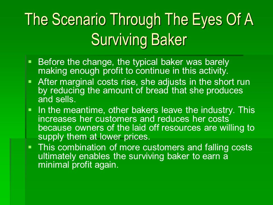 The Scenario Through The Eyes Of A Surviving Baker Before the change, the typical baker was barely making enough profit to continue in this activity.