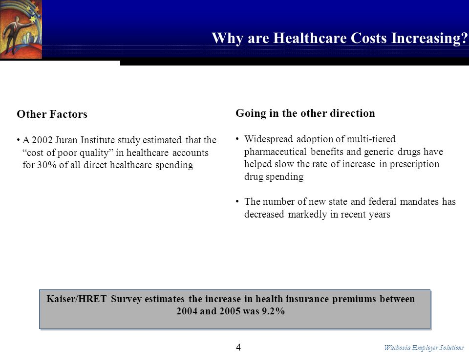 Wachovia Employer Solutions 4 Why are Healthcare Costs Increasing.
