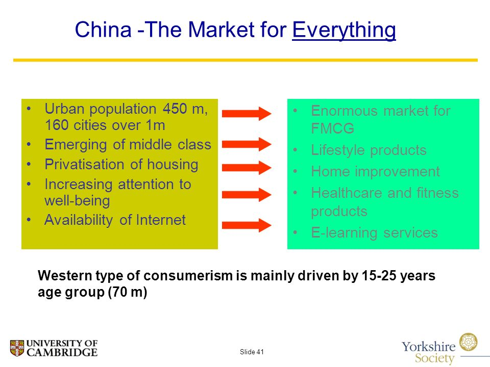 Slide 41 China -The Market for Everything Urban population 450 m, 160 cities over 1m Emerging of middle class Privatisation of housing Increasing attention to well-being Availability of Internet Enormous market for FMCG Lifestyle products Home improvement Healthcare and fitness products E-learning services Western type of consumerism is mainly driven by years age group (70 m)