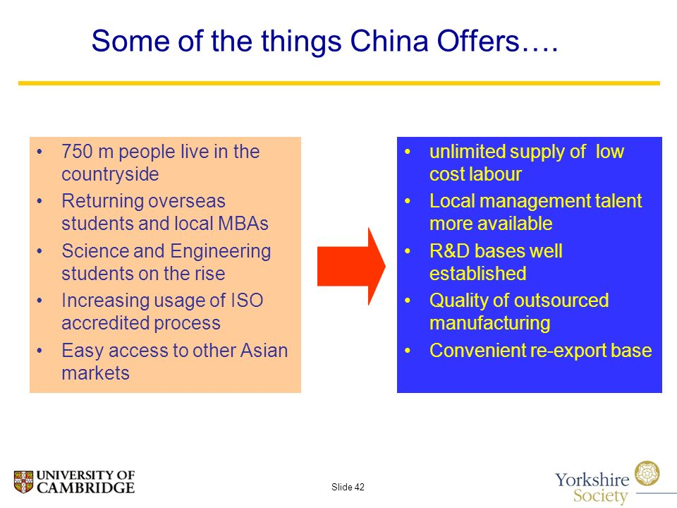 Slide 42 Some of the things China Offers….