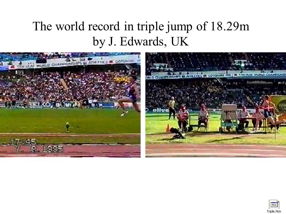 The world record in triple jump of 18.29m by J. Edwards, UK