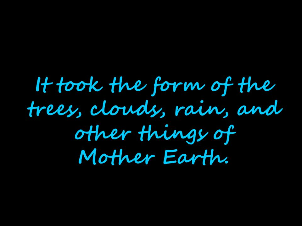 It took the form of the trees, clouds, rain, and other things of Mother Earth.