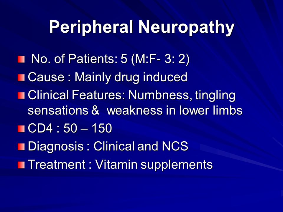 Peripheral Neuropathy No. of Patients: 5 (M:F- 3: 2) No.