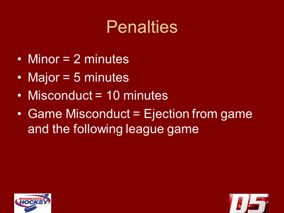 Penalties Minor = 2 minutes Major = 5 minutes Misconduct = 10 minutes Game Misconduct = Ejection from game and the following league game