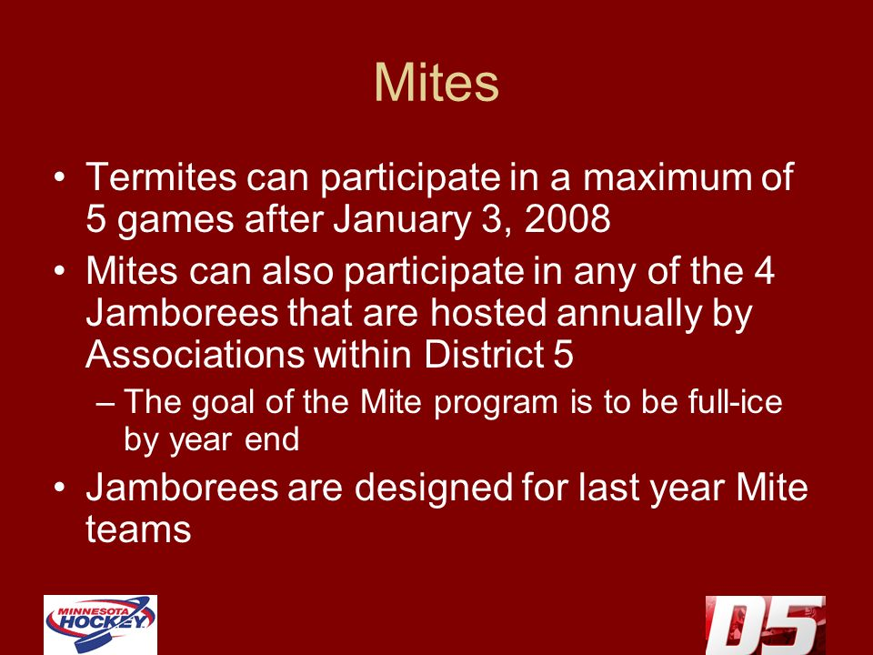 Mites Termites can participate in a maximum of 5 games after January 3, 2008 Mites can also participate in any of the 4 Jamborees that are hosted annually by Associations within District 5 –The goal of the Mite program is to be full-ice by year end Jamborees are designed for last year Mite teams