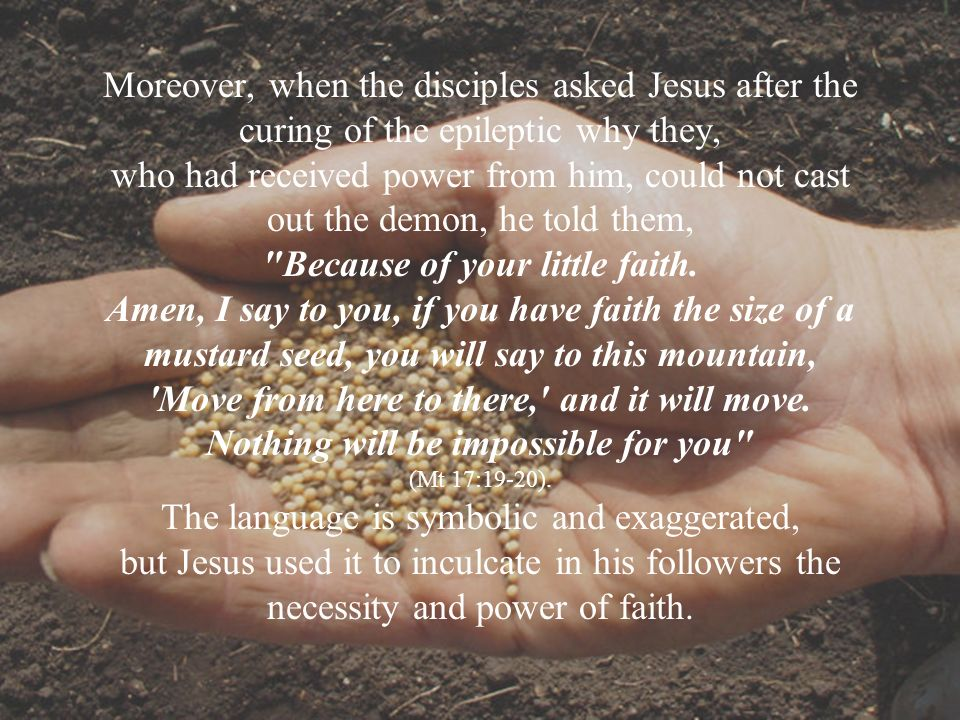 Moreover, when the disciples asked Jesus after the curing of the epileptic why they, who had received power from him, could not cast out the demon, he told them, Because of your little faith.