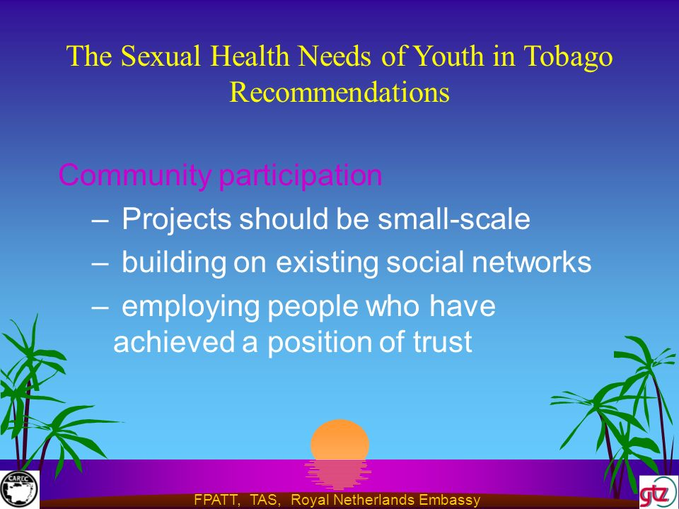 FPATT, TAS, Royal Netherlands Embassy The Sexual Health Needs of Youth in Tobago Recommendations Community participation – Projects should be small-scale – building on existing social networks – employing people who have achieved a position of trust