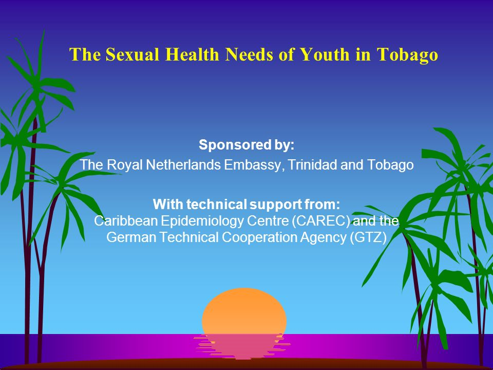 The Sexual Health Needs of Youth in Tobago Sponsored by: The Royal Netherlands Embassy, Trinidad and Tobago With technical support from: Caribbean Epidemiology Centre (CAREC) and the German Technical Cooperation Agency (GTZ)
