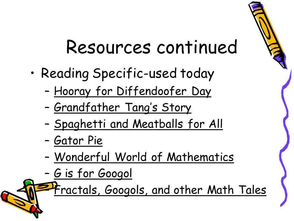 Resources continued Reading Specific-used today –Hooray for Diffendoofer Day –Grandfather Tangs Story –Spaghetti and Meatballs for All –Gator Pie –Wonderful World of Mathematics –G is for Googol –Fractals, Googols, and other Math Tales