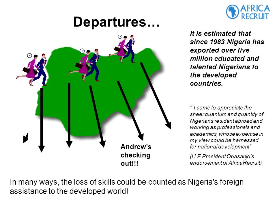It is estimated that since 1983 Nigeria has exported over five million educated and talented Nigerians to the developed countries.