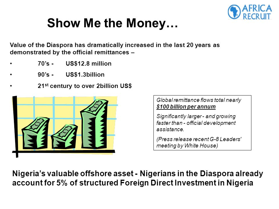 Value of the Diaspora has dramatically increased in the last 20 years as demonstrated by the official remittances – 70s -US$12.8 million 90s - US$1.3billion 21 st century to over 2billion US$ Global remittance flows total nearly $100 billion per annum Significantly larger - and growing faster than - official development assistance.
