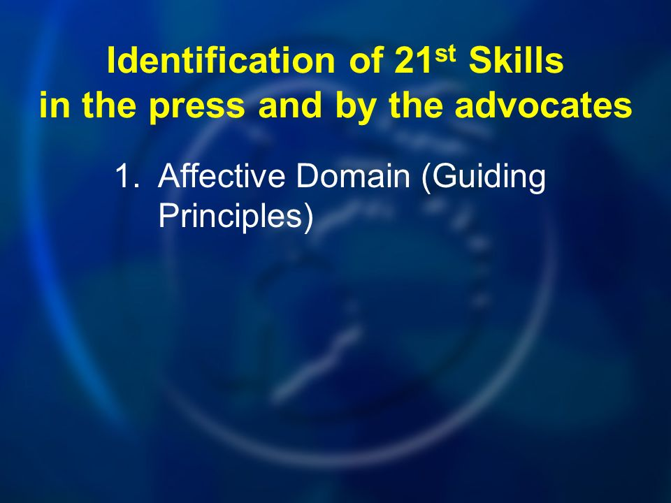 Identification of 21 st Skills in the press and by the advocates 1.Affective Domain (Guiding Principles)