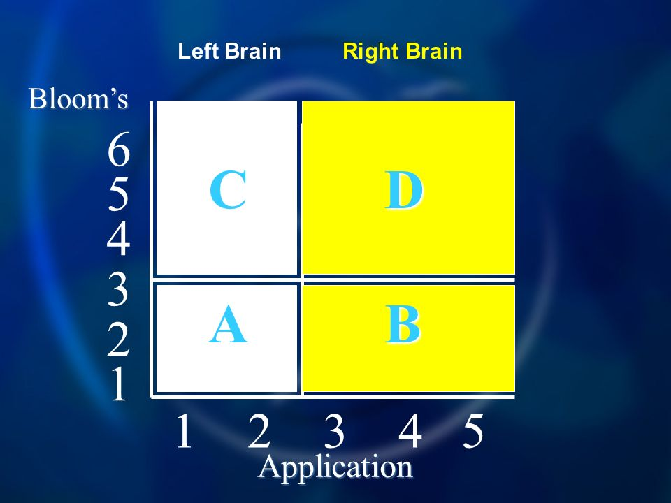 Blooms Application C D A B Left BrainRight Brain