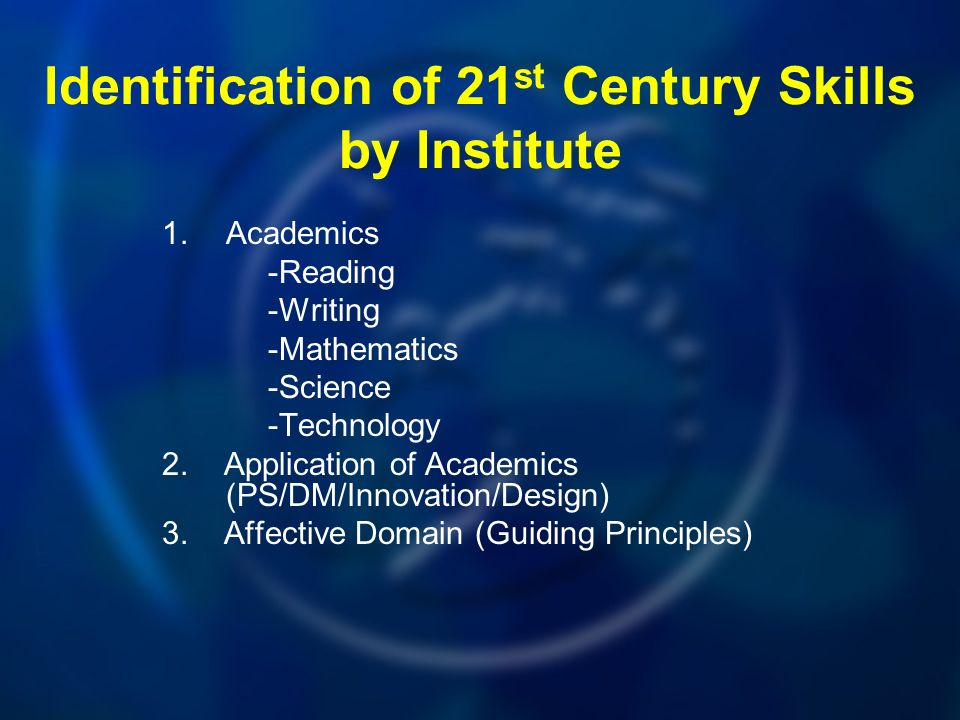 Identification of 21 st Century Skills by Institute 1.Academics -Reading -Writing -Mathematics -Science -Technology 2.