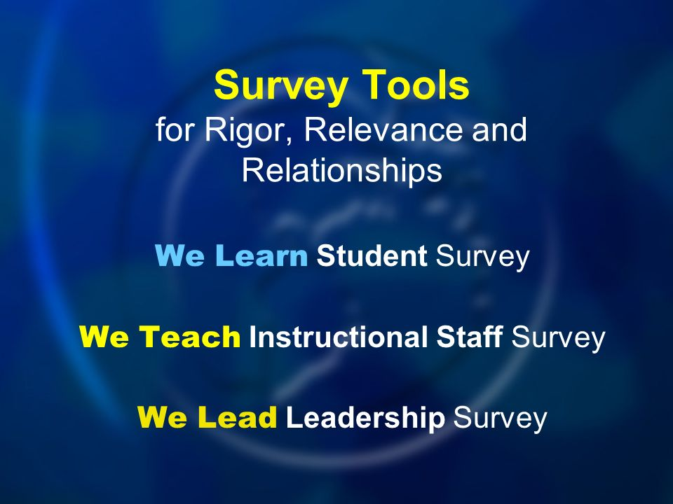 Survey Tools for Rigor, Relevance and Relationships We Learn Student Survey We Teach Instructional Staff Survey We Lead Leadership Survey