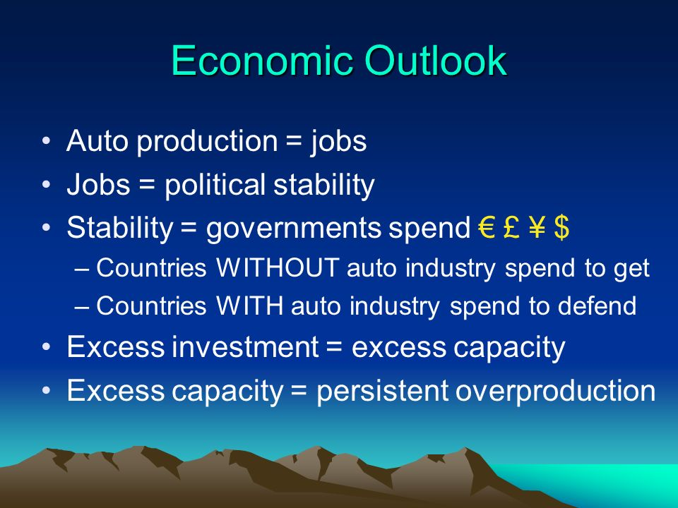 Economic Outlook Auto production = jobs Jobs = political stability Stability = governments spend £ ¥ $ –Countries WITHOUT auto industry spend to get –Countries WITH auto industry spend to defend Excess investment = excess capacity Excess capacity = persistent overproduction